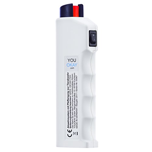 YouOkay 4 FUNKTIONEN: Pfefferspray, Alarm, Blaulicht, Abwehrschlag-Funktion. Das 4-in-1 Abwehrsystem - inkl. Batterien