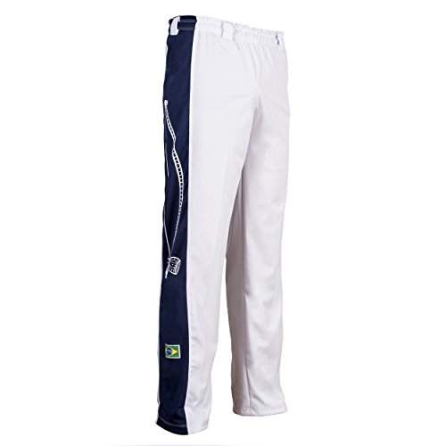 JLSPORT Original Brasilianische Berimbau Capoeira Hose Unisex weiß Abada Martial Arts Elastische Pants. - S