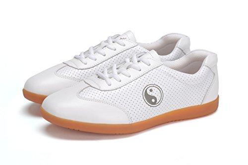 ICNBUYS Herren Kung Fu Tai Chi Schuhe für den Sommer, atmungsaktiv, aus Leder, Weiß, Weiß - weiß - Größe: 8.5 UK