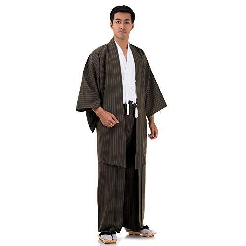 Princess of Asia Japan Samurai Kimono Set 3 Teile Kendo Gi + Hakama + Haori Baumwolle M L XL (Einheitsgröße, Braun & Weiß)
