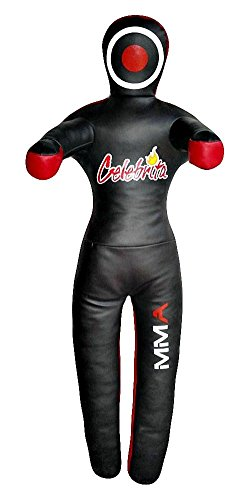 Celebrita Italien MMA Judo Leder Grappling Dummy Hängen mit 2 Haken MMA3303 Leather - Black 47' Up to 35kg/77 lb