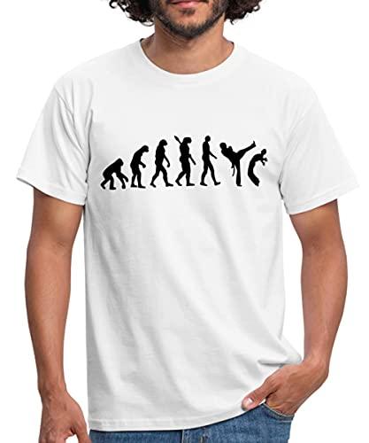 Spreadshirt Evolution Capoeira Männer T-Shirt, L, Weiß