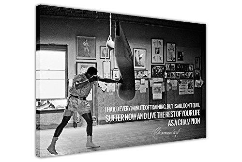 Kunstdruck auf Leinwand, Motiv Muhammad Ali, Champion, Schwarz / Weiß