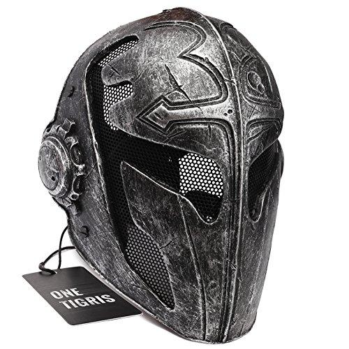 OneTigris Taktisch Vollgesichtsschutz Ritterhelm Fechten Schutzmaske Templar Maske für Herren (Schwarz)